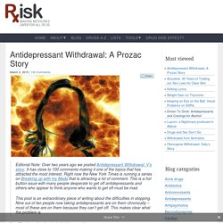 Antidepressant Withdrawal: A Prozac Story