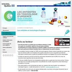 Antidotes toxicologie d'urgence Québec