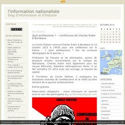 Quel antifascisme ? – Conférence de Charles Robin à Bordeaux