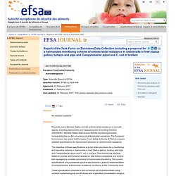 EFSA 21/02/07 Report of the Task Force on Zoonoses Data Collection including a proposal for a harmonized monitoring scheme of an