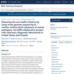 BMC VETERINARY RESEARCH 06/05/19 Enhancing the one health initiative by using whole genome sequencing to monitor antimicrobial resistance of animal pathogens: Vet-LIRN collaborative project with veterinary diagnostic laboratories in United States and Cana