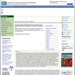 CDC EID - MAI 2012 - Antimicrobial Drug Resistance in Escherichia coli from Humans and Food Animals, United States, 1950–2002