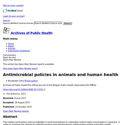 Archives of Public Health 19/10/17 Antimicrobial policies in animals and human health