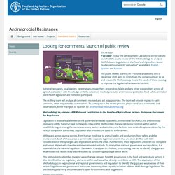 """FAO 07/10/20 Today the Development Law Service of FAO (LEGN) launched the public review of the """"Methodology to analyse AMR-Relevant Legislation in the Food and Agriculture Sector – Guidance Document for Regulators"""","""