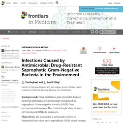 Front Med (Lausanne). 2017 Oct 30;4:183. Infections Caused by Antimicrobial Drug-Resistant Saprophytic Gram-Negative Bacteria in the Environment.