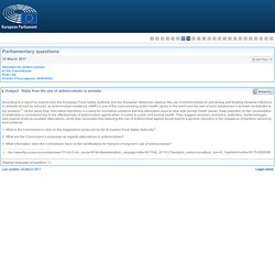 PARLEMENT EUROPEEN - Réponse à question E-001703-17 Risks from the use of antimicrobials in animals