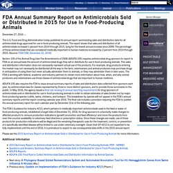 AASV 27/12/16 FDA Annual Summary Report on Antimicrobials Sold or Distributed in 2015 for Use in Food-Producing Animals