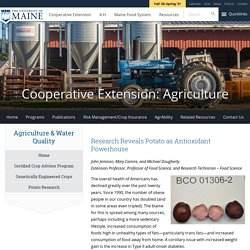 Research Reveals Potato as Antioxidant Powerhouse - Cooperative Extension: Agriculture - University of Maine Cooperative Extension
