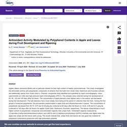 ANTIOXIDANTS 01/07/20 Antioxidant Activity Modulated by Polyphenol Contents in Apple and Leaves during Fruit Development and Ripening