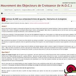 Adresse du MOC aux antiproductivistes de gauche, libertaires et écologistes