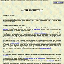 antipsychiatrie anti psychiatrie cooper laing theorie psychiatrique formation infirmiere