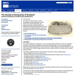 Library: Society of Antiquaries of Scotland Scanning Project: Introduction