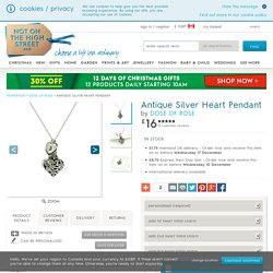 antique silver heart pendant by dose of rose