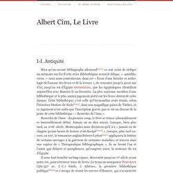 I-I. Antiquité - AlbertCim, LeLivre
