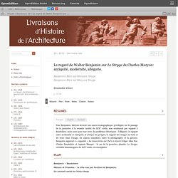 Le regard de Walter Benjamin sur Le Stryge de Charles Meryon: antiquité, modernité, allégorie.