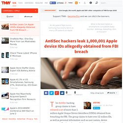 AntiSec Leaks 1m Apple UDIDs Allegedly Obtained from FBI Breach