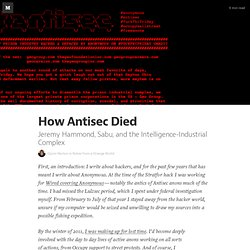How Antisec Died — Notes from a Strange World