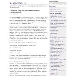 Rudolf De Jong : Le débat anarchiste sur l'antisémitisme - mondialisme.org