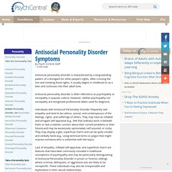 Antisocial Personality Disorder Symptoms