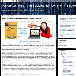 Norton Antivirus Tech Support Number 1-844-798-3801: What are the Benefits of Installing Norton Antivirus?