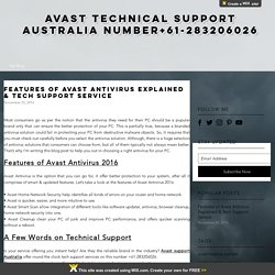 Features of Avast Antivirus Explained & Tech Support Service