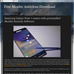 Samsung Galaxy Note 7 comes with preinstalled McAfee Security Software