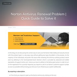 Norton Antivirus Renewal Problem
