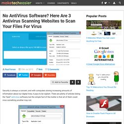 3 Antivirus Scanning Websites to Scan Your Files For VIrus