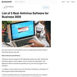 List of 5 Best Antivirus Software for Business 2020