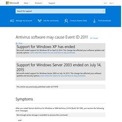 Antivirus software may cause Event ID 2011