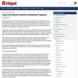 Avail Free Norton Antivirus Software Programs
