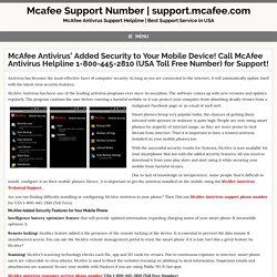 McAfee Antivirus Support' Added Security to Your Mobile Device!