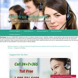 McAfee Antivirus Technical Support Services Online in USA, UK, CANADA