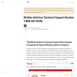 McAfee Antivirus Technical Support Number 1-888-467-5540