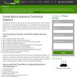 Trend Micro Antivirus Technical Support