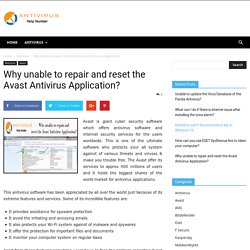 Why unable to repair and reset the Avast Antivirus Application? - Antivirushelpnumber