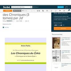 Anton Parks - Résumé des Chroniques (3 tomes) par Jsf