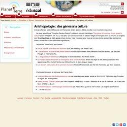 Antrhopologie : des gènes à la culture