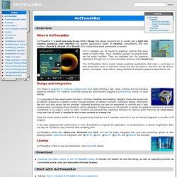 AntTweakBar GUI library to tweak parameters of your OpenGL and DirectX programs [AntTweakBar]