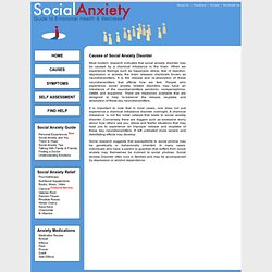 Cause of Social Anxiety Disorder and Social Phobias