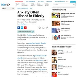 Anxiety in the elderly - WebMD