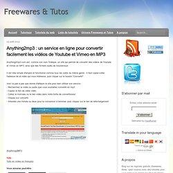 un service en ligne pour convertir facilement les vidéos de Youtube et Vimeo en MP3