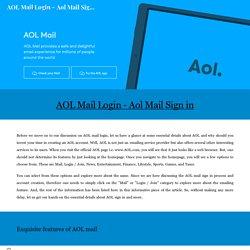 AOL Mail Login - Aol Mail Sign in - Aol.com