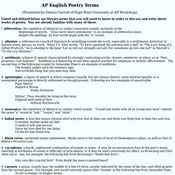 AP Poetry Terms