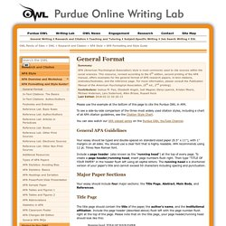 APA Formatting and Style Guide - The OWL at Purdue