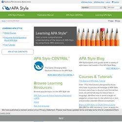 APA Style: Learning APA Style