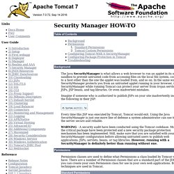 Apache Tomcat 7 (7.0.72) - Security Manager HOW-TO