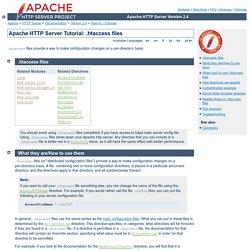 Tutoriel du serveur HTTP Apache : fichiers .htaccess - Serveur Apache HTTP Version 2.2