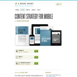 A Book Apart, Content Strategy for Mobile