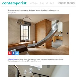This apartment interior was designed with a slide into the living room